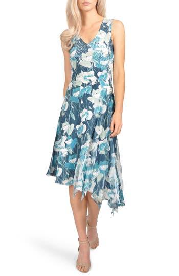 Komarov Floral Asymmetric Chiffon Dress, Blue