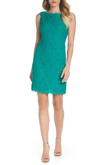 Adrianna Papell Boatneck Lace Sheath Dress, Green