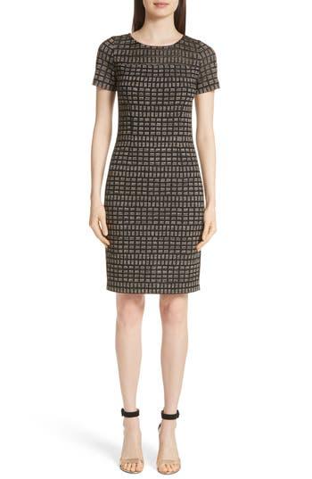 St. John Collection Shimmer Rectangle Jacquard Knit Dress