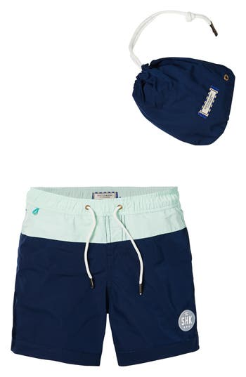 Boys Scotch Shrunk Colorblock Swim Trunks