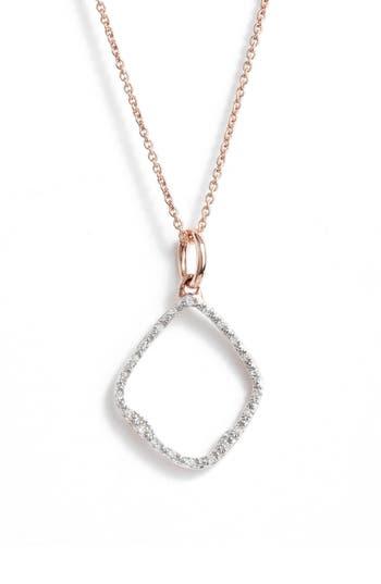Monica Vinader Riva Hoop Diamond Pavé Pendant Necklace