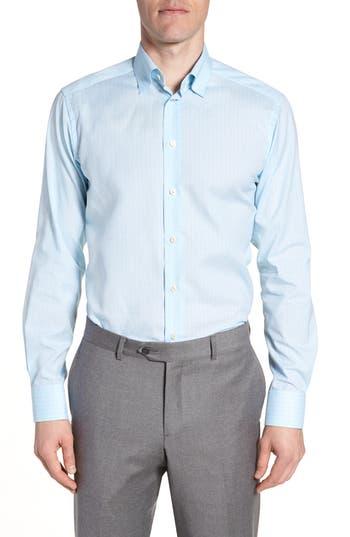 Men's Eton Contemporary Fit Plaid Dress Shirt, Size 15 - Blue