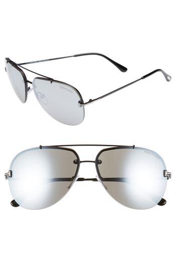 Tom Ford Brad 6m Metal Aviator Sunglasses - Palladium/ Blue