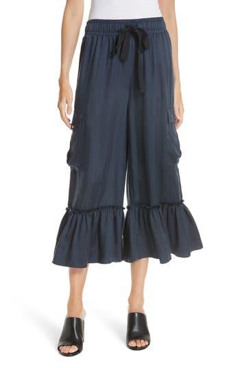 Cinq A Sept Prisilla Ruffle Hem Cargo Pants, Blue