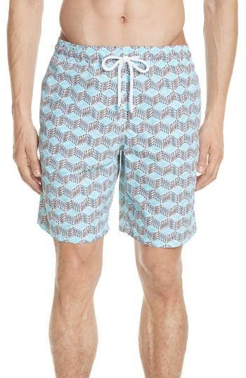 Vilebrequin Fishes Cube Print Swim Trunks, Blue