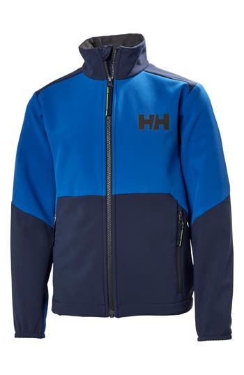 Boys Helly Hansen Edge Softshell Water Resistant  Wind Resistant Jacket Size 8  Blue