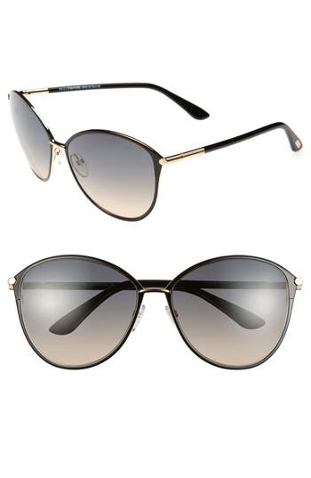 Tom Ford Penelope 5m Gradient Cat Eye Sunglasses - Shiny Rose Gold/ Black