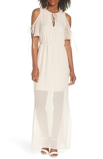 Charles Henry Tie Sleeve Cold Shoulder Maxi Dress, Ivory
