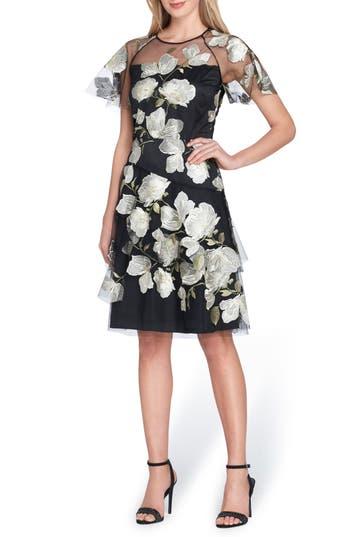 petite women's tahari embroidered fit & flare dress, size 14p - black