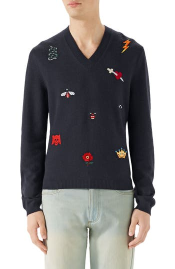 Gucci V-Neck Embroidered Wool Sweater