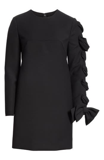 Valentino Very V Lace-Up Sleeve Dress, Black