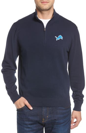 Cutter & Buck Detroit Lions - Lakemont Regular Fit Quarter Zip Sweater