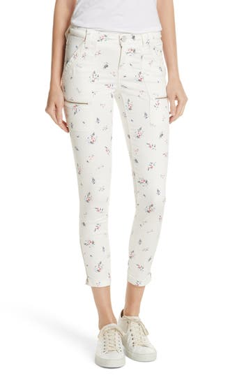 Joie Park Floral Skinny Cargo Pants, White