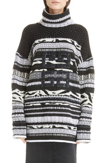 SEQUIN LOGO JACQUARD WOOL BLEND SWEATER