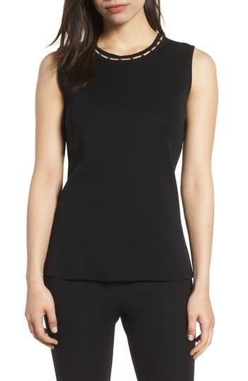 Women's Ming Wang Beaded Neck Tank Top, Size X-Small - Black