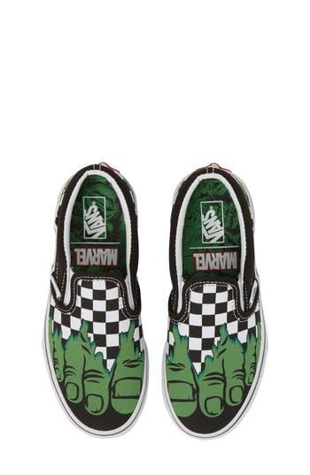 Boys Vans X Marvel Hulk Checkerboard SlipOn Sneaker Size 4 M  Green