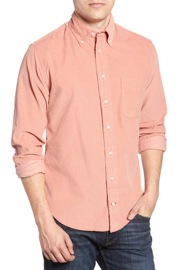 Men's Gitman Regular Fit Corduroy Shirt, Size Small - Pink