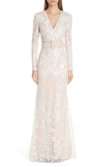 Badgley Mischka Platinum Embroidered Belted Gown