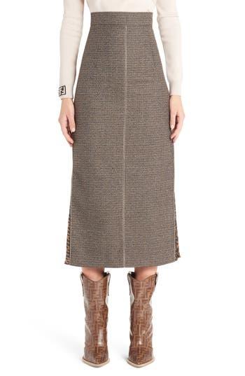 Fendi Silk Logo Godet Stretch Wool Skirt
