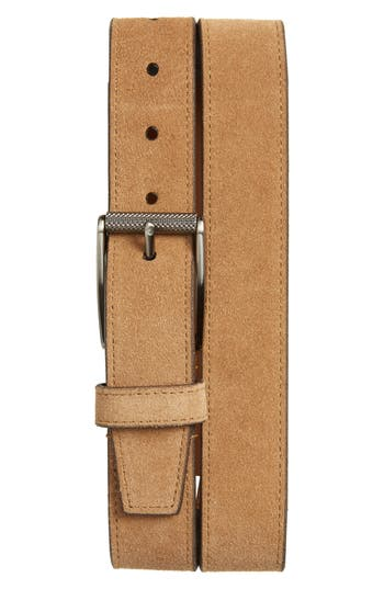 Image of Men's Big & Tall 1901 Colton Suede Belt, Size 46 - Tan Dale