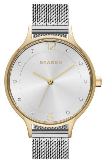 Women's Skagen 'Anita' Crystal Index Mesh Strap Watch, 30Mm
