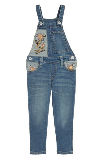Girls Peek Taylor Embroidered Overalls