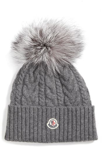 Moncler Cable Knit Beanie with Genuine Fox Fur Pom