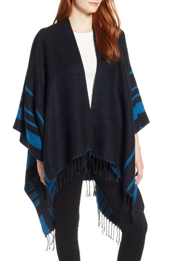 Echo Fringe & Border Stripe Ruana