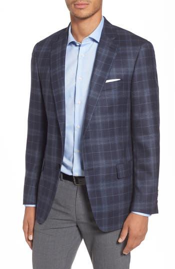 Hart Schaffner Marx Classic Fit Plaid Wool & Silk Sport Coat