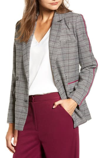 Chriselle Lim Bianca Piped Houndstooth Blazer