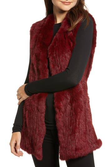 Love Token Genuine Rabbit Fur & Knit Vest