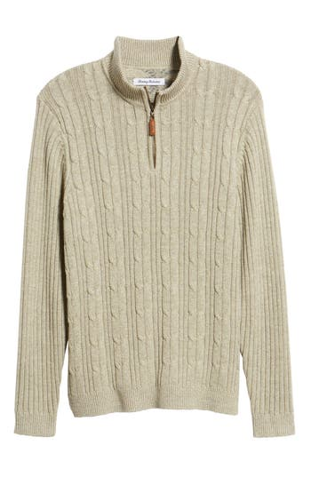 Tommy Bahama Tenorio Cable Knit Zip Sweater