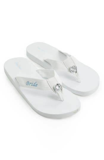 Women's Cathy'S Concepts 'Bride' Personalized Flip Flops, Size Medium - White