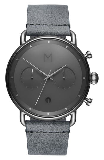 MVMT Blacktop Chronograph Leather Strap Watch
