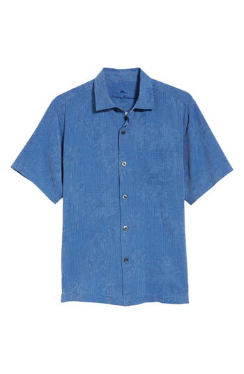Men's Big & Tall Tommy Bahama Digital Palms Silk Sport Shirt, Size X-Large - Blue