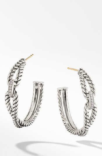 David Yurman Cable Loop Hoop Earrings with Diamonds