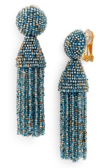 Oscar de la Renta Short Beaded Tassel Clip Earrings