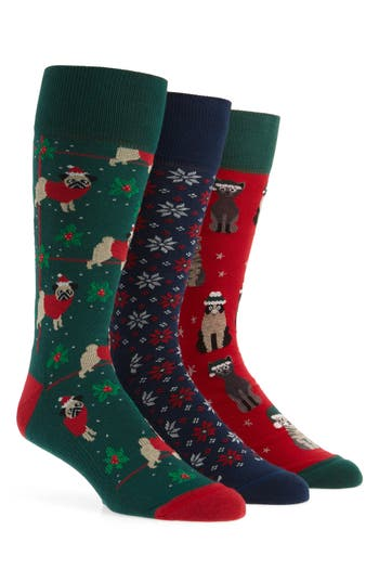Nordstrom Men's Shop 3-Pack Holiday Novelty Socks Box Set