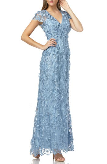 Carmen Marc Valvo Infusion Petals Embellished Gown