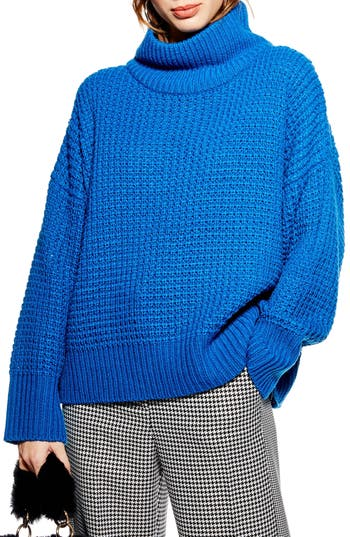 Topshop Weave Stitch Roll Neck Sweater