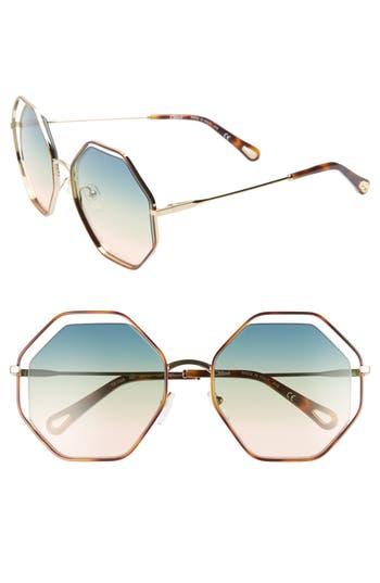 Chloé 58mm Octagonal Halo Lens Sunglasses