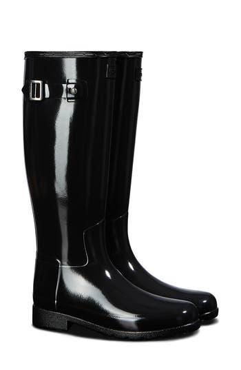 Hunter Original Refined Gloss Tall Waterproof Rain Boot (Women) (Wide Calf)