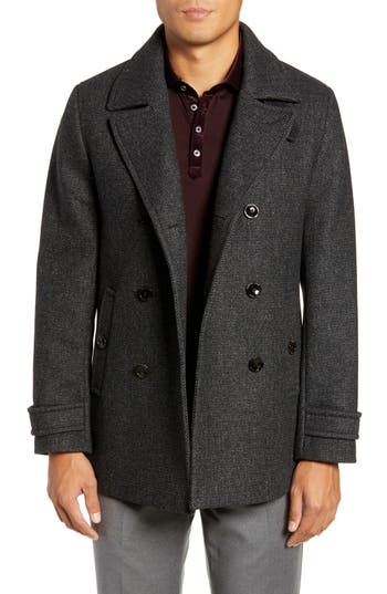Ted Baker London Grilled Wool Blend Peacoat