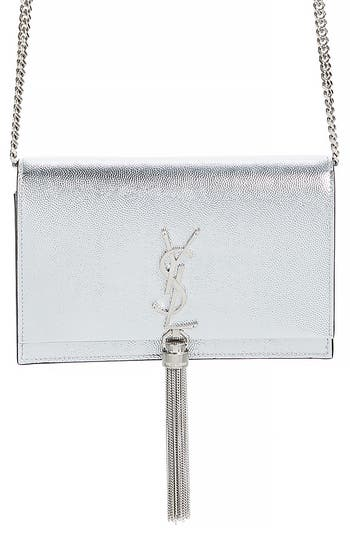 Saint Laurent Kate Metallic Leather Wallet on a Chain