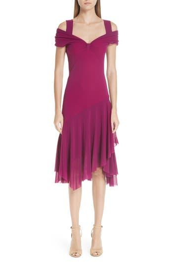 Fuzzi Ruffle Tulle Cold Shoulder Dress