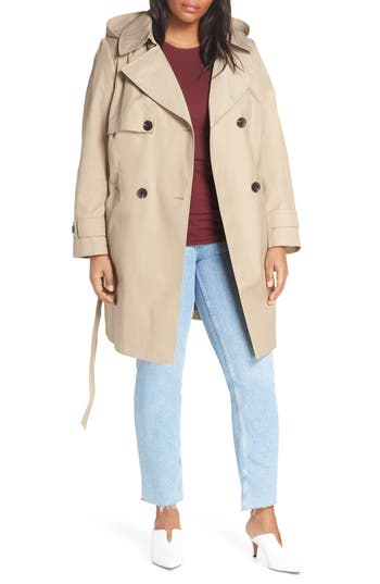 Halogen® Double Breasted Hooded Trench Coat