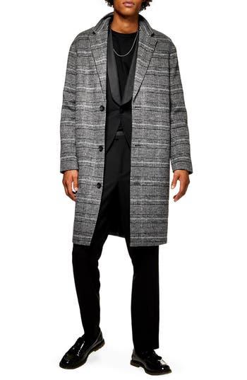 Topman Hayden Check Print Overcoat