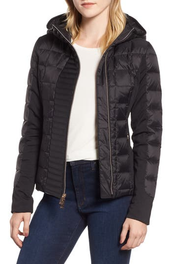 Marc New York Hybrid Faux Leather Quilted Hooded Jacket