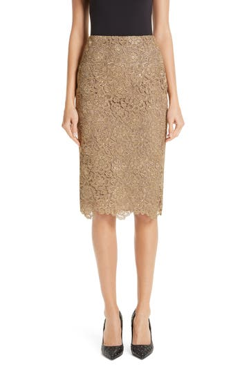 Valentino Anemone Guipure Lace Pencil Skirt
