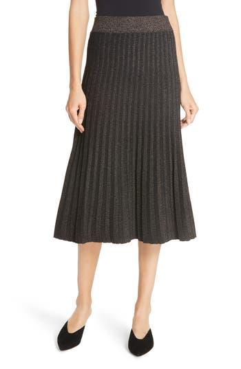 A.L.C. Neal Metallic Pleated Midi Skirt